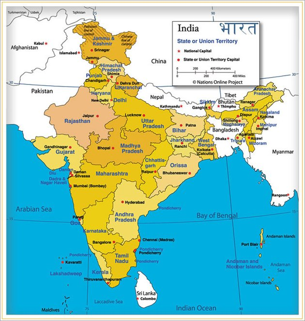 Map of Indian states (from Nations Online Project)